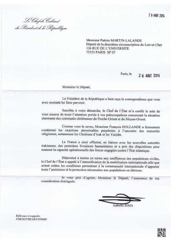HOLLANDE_chef_cab_reponse_petition_chretiens_Orient_20140826